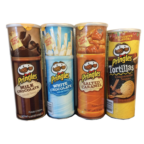 Pringles Limited Time Only White Chocolate Salted Caramel Milk Chocolate and Cinnamon Sugar Gift Pack