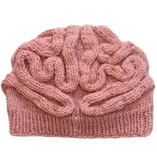 Knit Pink Brain Hat