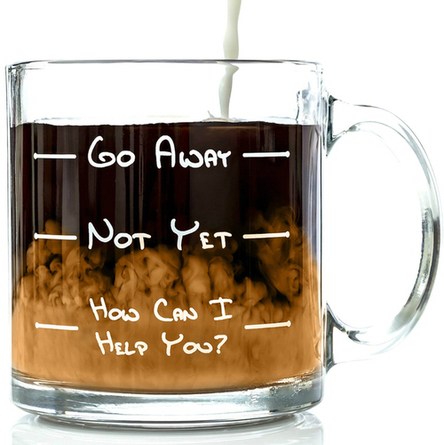 Go Away Funny Glass Coffee Mug 13 oz - Perfect Birthday Gift for Men or Women - Unique Gifts for Him or Her - Cool Present Idea for Coworkers, Mom, Dad, Son, Daughter, Husband or Wife