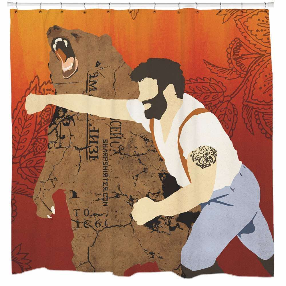 Lumberjack Punching Bear Shower Curtain